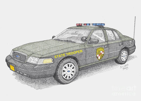 Maryland Art Print featuring the drawing Maryland State Police Car 2012 by Calvert Koerber