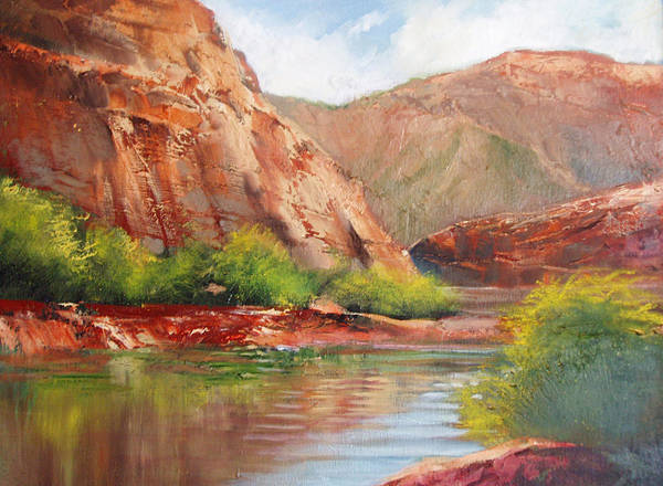 Landscape Print featuring the painting Around The Bend by Robert Carver