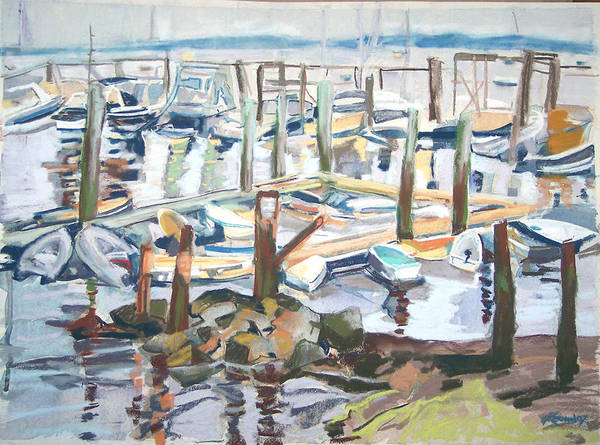 Maine Print featuring the pastel Guardians Of The Harbor by Grace Keown