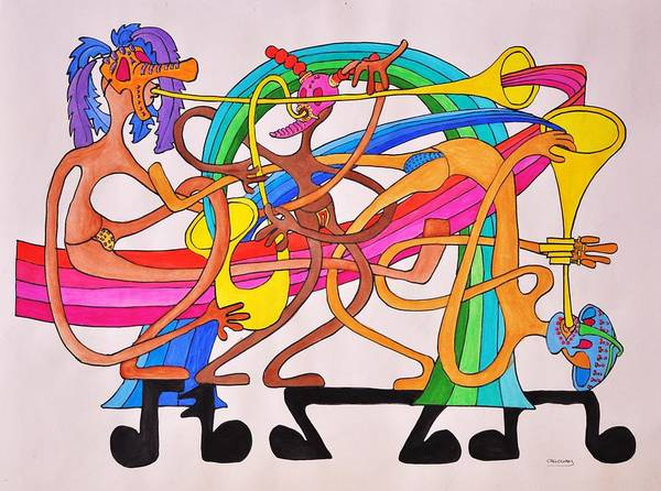 Happy Art Print featuring the drawing Happy People Horns by Glenn Calloway