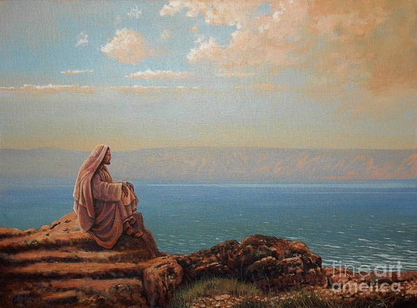 Jesus Art Print featuring the painting Jesus By The Sea by Michael Nowak
