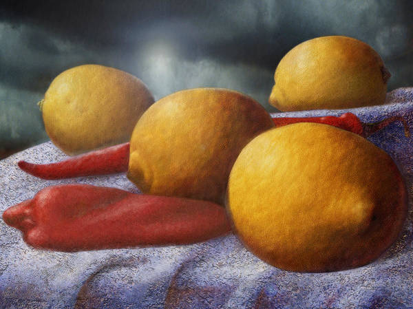 Food Art Print featuring the digital art Lemons And Chilis by Zev Robinson