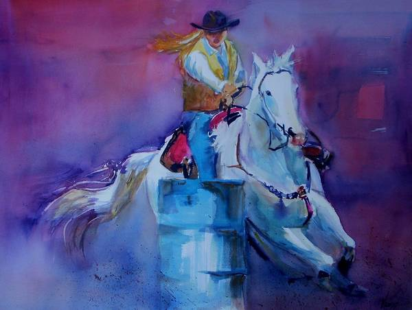 Horse And Rider.barrel Racer. Art Print featuring the painting Barrel Racer 2 by Patricia Kness