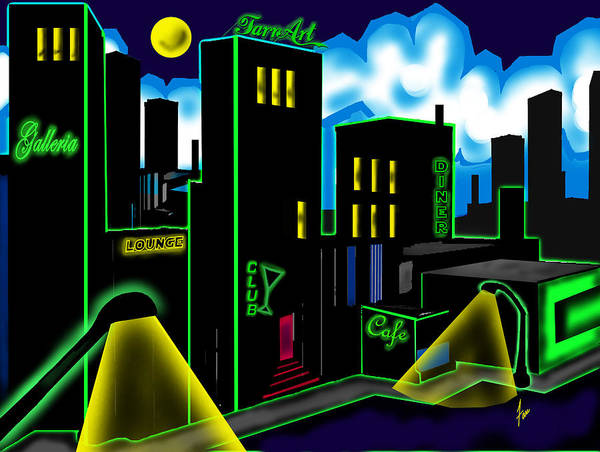 City Art Print featuring the painting Intensecity Neon Nights by Steve Farr
