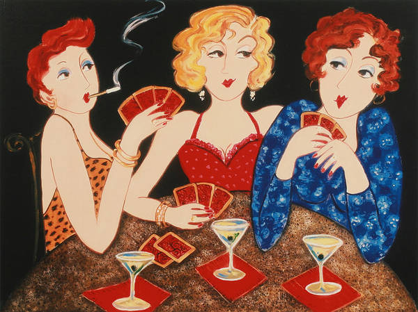 Playing Cards Art Print featuring the painting Three Of A Kind by Susan Rinehart
