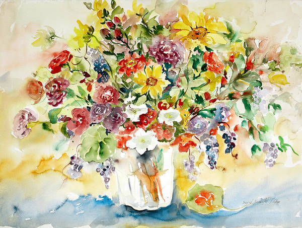 Watercolor Art Print featuring the painting Arrangement IIi by Ingrid Dohm
