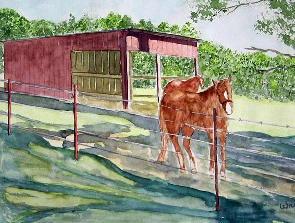 Horse Art Art Print featuring the painting Summer Shade by Larry Wright