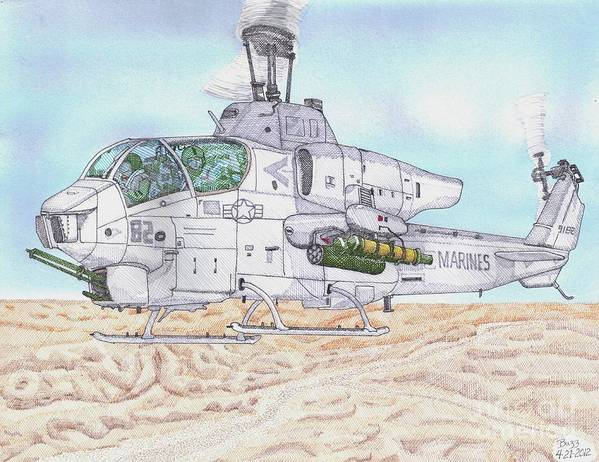Cobra Attack Helicopter Art Print featuring the drawing Cobra Attack Helicopter by Calvert Koerber