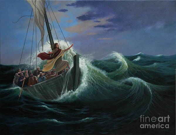 Bible Art Print featuring the painting Peace Be Still by Michael Nowak