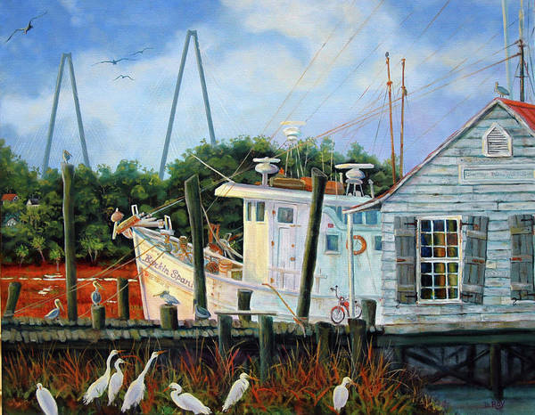 Shem Creek Art Print featuring the painting Top Dog Shrimper - At Rest by Dwain Ray