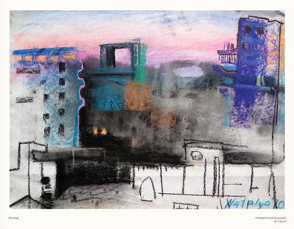 Cityscape Art Print featuring the pastel Morning by Natalya Bhasin