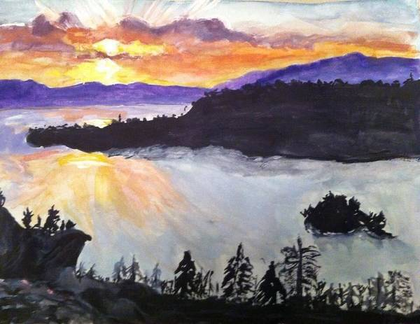 Emerald Bay Art Print featuring the painting Emerald Bay by Susane Tagayev