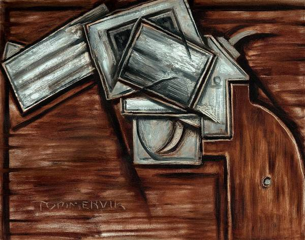 Revolver Art Print featuring the painting Tommervik Cubism Hand Gun Art by Tommmervik