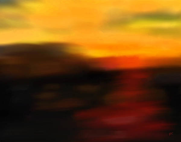 Abstract Art Art Print featuring the painting Day's End by Gerlinde Keating - Galleria GK Keating Associates Inc