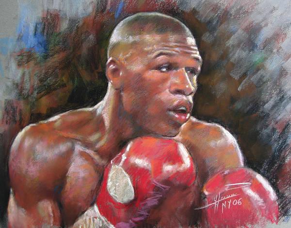 Floyd Mayweather Jr. Art Print featuring the pastel Floyd Mayweather Jr by Ylli Haruni
