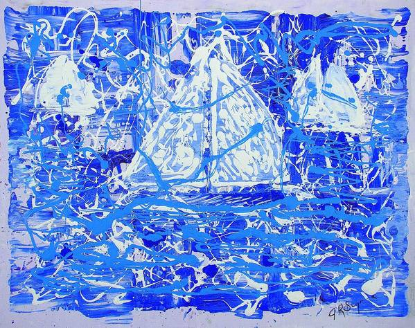 Sailing Art Print featuring the painting Sailing With Friends by J R Seymour