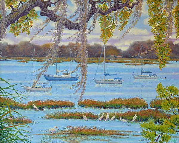 Beaufort Art Print featuring the painting Beaufort Anchorage by Dwain Ray