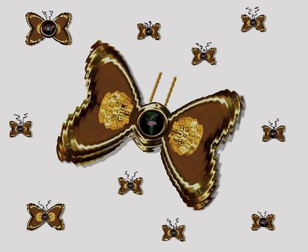 Gold Art Print featuring the mixed media Butterflies For The Worlds Future by Pepita Selles