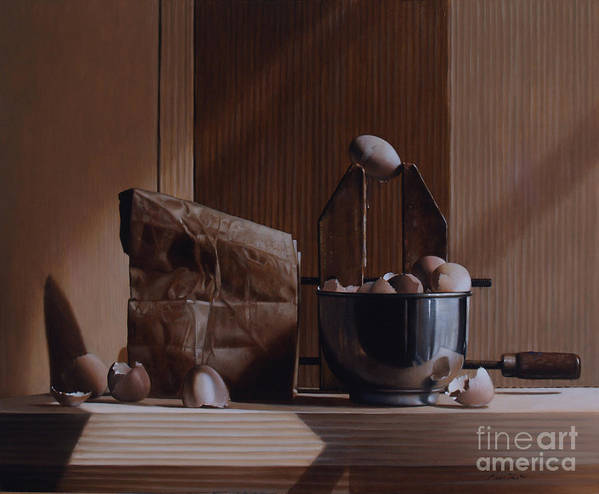 Eggs Art Print featuring the painting Eggs And Cardboard by Larry Preston