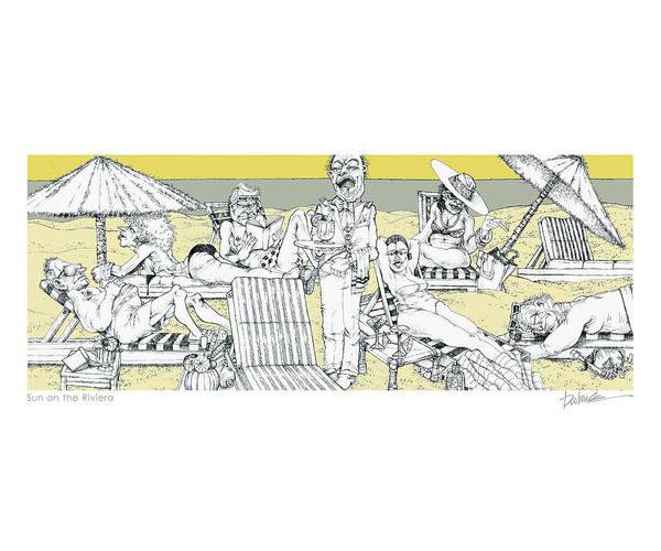 Beach Art Print featuring the digital art Sun On The Riviera by Dennis Wunsch