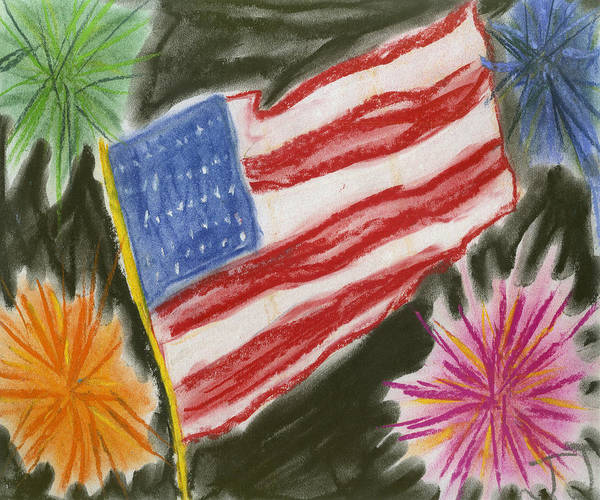 Usa. Patriotic Art Print featuring the painting 4th Of July by Jessika and Art with a Heart In Healthcare