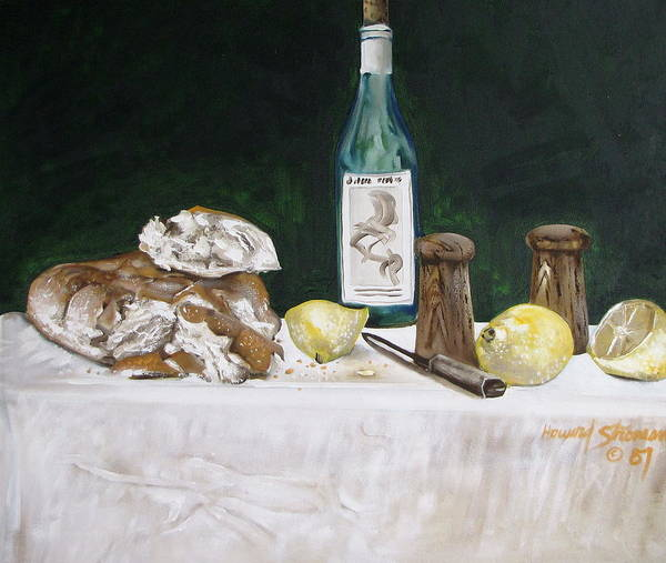 Stil Life;lemons;wine;bread;table Setting;salt;pepper;food Art Print featuring the painting Bread And Wine by Howard Stroman