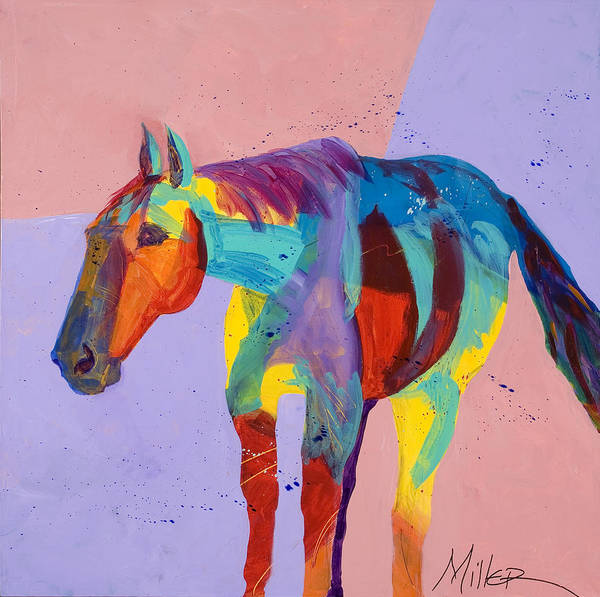 Horse Art Print featuring the painting On The Lonely Trail by Tracy Miller