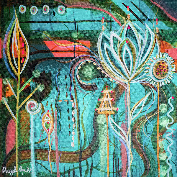 Intuitive Art Art Print featuring the painting Happy by Angel Fritz