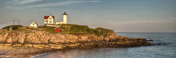 Cape Neddick Art Print featuring the photograph Cape Neddick Lighthouse Island In Evening Light - Panorama by At Lands End Photography