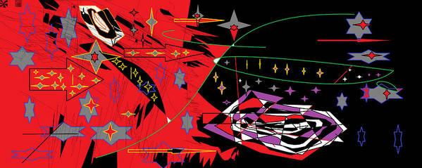 Digital Art Print featuring the digital art Bipolar Stars by Sam Persons