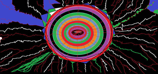 Digital Art Print featuring the digital art Electric Hole by Sam Persons