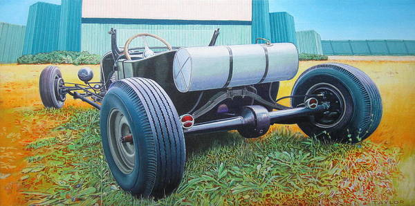 Hot Rod Art Print featuring the painting At The Drive In by Jeff Taylor