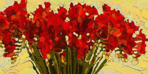 Red Bouquet Art Print featuring the painting Red Bouquet by Dorinda K Skains
