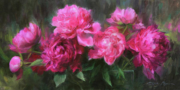 Peonies Art Print featuring the painting Symphony In Pink by Anna Rose Bain