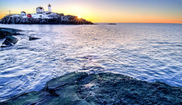 Cape Neddick Art Print featuring the photograph Sunrise Starburst Over Nubble Lighthouse by Thomas Schoeller