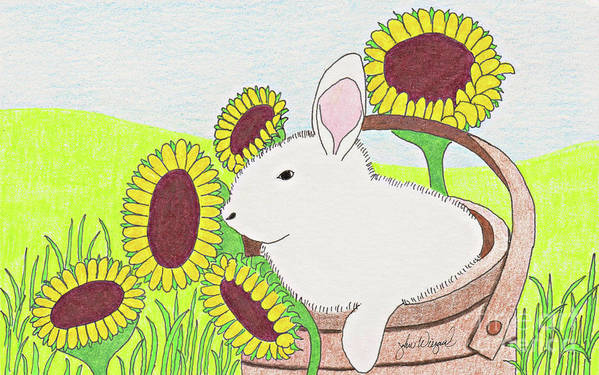 Bunny Art Print featuring the drawing Bunny In A Basket by John Wiegand