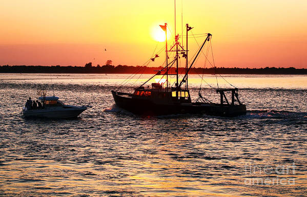 Boats In The Night Art Print featuring the photograph Boats In The Night by John Rizzuto