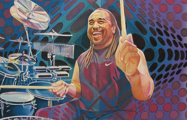 Carter Beauford Art Print featuring the drawing Carter Beauford-op Series by Joshua Morton
