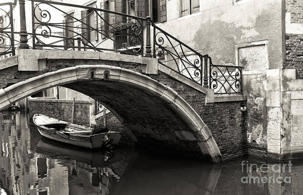 Vintage Canal Bridge In Venice Art Print featuring the photograph Vintage Canal Bridge In Venice by John Rizzuto