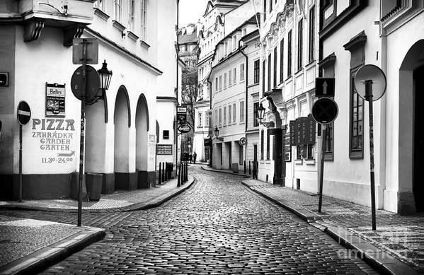 Empty Street In Prague Art Print featuring the photograph Empty Street In Prague by John Rizzuto