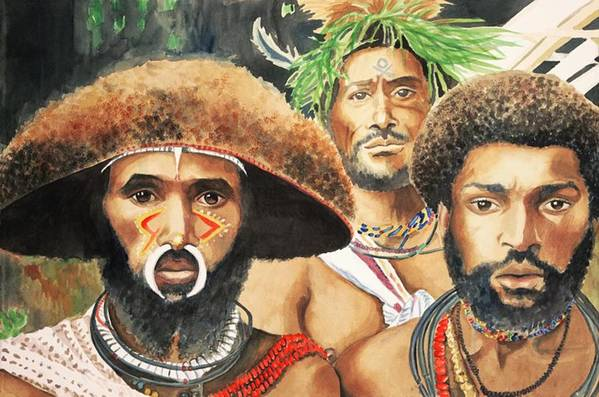 Papua Art Print featuring the painting Men From New Guinea by Judy Swerlick