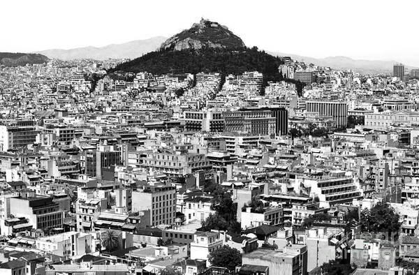 Athens City View Print featuring the photograph Athens City View In Black And White by John Rizzuto