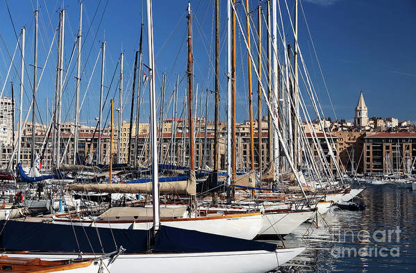 Empty Masts In Vieux Port Art Print featuring the photograph Empty Masts In Vieux Port by John Rizzuto