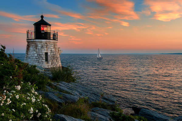 Sailboat Print featuring the photograph Inspirational Seascape - Newport Rhode Island by Thomas Schoeller