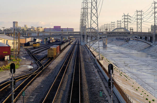 Los Angeles Art Print featuring the photograph La River And Rr by Rene Sheret