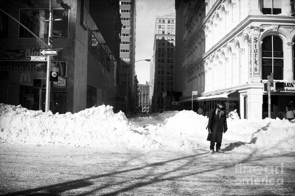 Snow On Broadway 1990s Art Print featuring the photograph Snow On Broadway 1990s by John Rizzuto