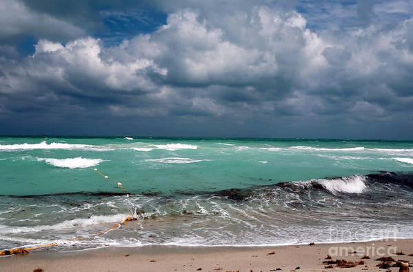 South Beach Storm Clouds Art Print featuring the photograph South Beach Storm Clouds by John Rizzuto
