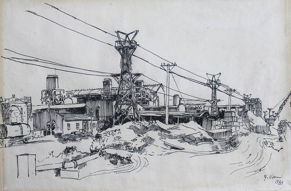 Industrial Site Art Print featuring the drawing Industrial Site by Ylli Haruni