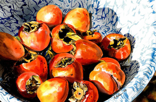 Food Art Print featuring the painting Persimmons by Nadi Spencer
