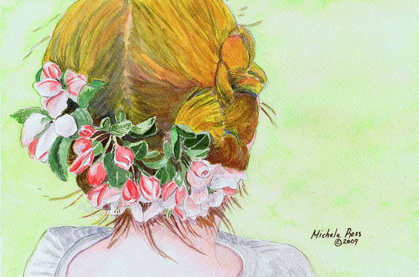 Watercolor Art Print featuring the painting Red Hair And Apple Blossoms by Michele Ross